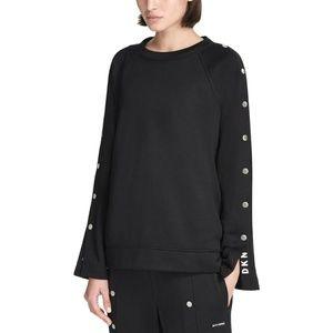 DKNY Sport Sweatshirt Fitness Side Snap Black Sz M